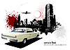 Vector clipart: 1970`s Luxury Coupe on grunge urban poster