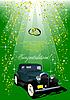 Vector clipart: Wedding green background with rarity car
