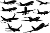 Vector clipart: Ten Airplane silhouettes