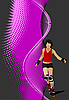Vector clipart: Abstract background with Roller skater silhouette.