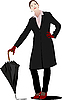 Vector clipart: Business woman with umbrella.