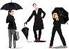 Vector clipart: Three women with umbrella.