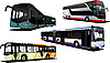 Vector clipart: Four city buses.