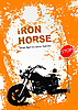 Vector clipart: Orange gray background with motorcycle.