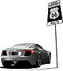 Vector clipart: car and route 66 sign