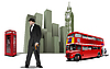 Vector clipart: Few London on city background.