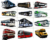 Vector clipart: Twelve kinds of city buses.