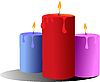 Vector clipart: Three burning candles.