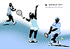 Vector clipart: Three Tennis players