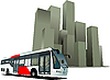 Vector clipart: City bus on the town background.