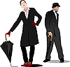 Vector clipart: Gentleman and lady with umbrella.