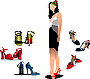Vector clipart: Young Woman with 5 pair of shoes.