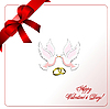 Vector clipart: Envelope with blue ribbon corner and doves