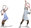Vector clipart: Man and woman Tennis players