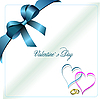 Vector clipart: Envelope with blue ribbon corner and hearts
