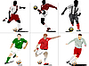 Vector clipart: Six Soccer players.
