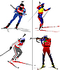 Vector clipart: Four biathlon runner colored silhouettes.