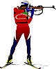 Vector clipart: Biathlon runner colored silhouettes.