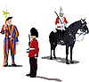Vector clipart: three guards on horse
