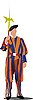 Vector clipart: Swiss guard in Vatican.