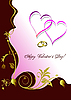 Vector clipart: Greeting floral valentine`s day with hearts. .