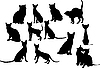 Vector clipart: Twelve cats silhouettes.