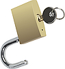 Vector clipart: Bronze padlock with key.