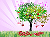 Vector clipart: Decorative Valentine`s Day tree with hearts and lips