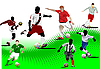 Vector clipart: Seven Soccer players.