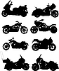 Vector clipart: Eight motorcycles