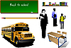 Vector clipart: School equipment with teacher and school boys