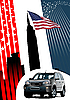 Vector clipart: Background with americans and car.