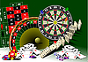 Vector clipart: Roulette table and casino elements.