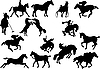 Vector clipart: Fourteen horse silhouettes.