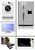 Vector clipart: Home equipment. Kitchen. Living room. Library.