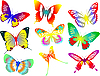 Vector clipart: Collection of colored butterflies.