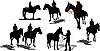 Векторный клипарт: Sevenhorse силуэты.