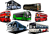 Vector clipart: Seven types of bus.