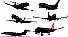 Vector clipart: Six Airplane silhouettes