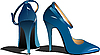 Vector clipart: Fashion blue woman shoes.