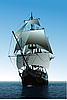 Vector clipart: poster with old sailing vessel