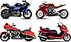Vector clipart: Four modern motorcycles