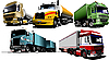 Vector clipart: Five trucks on the road.