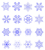 Vector clipart: Sixteen snowflakes as winter design element.