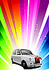 Vector clipart: Holiday rainbow background with wedding car.
