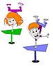 Vector clipart: Two cartoon children.