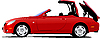 Vector clipart: Red car cabriolet on the road.