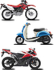 Vector clipart: Three motorcycles