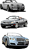 Vector clipart: Three cabriolets on the road.