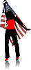 Vector clipart: Girl with American flag. Independence day.